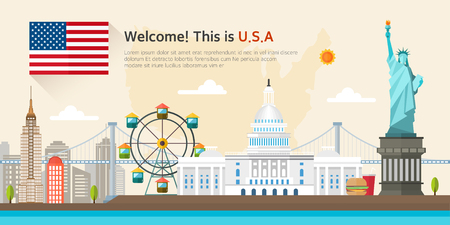 Verenigde staten Landmarks illustratie Stockfoto - 56498555