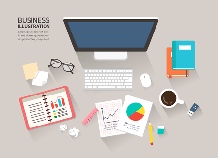 writing pad: Business flat illustration