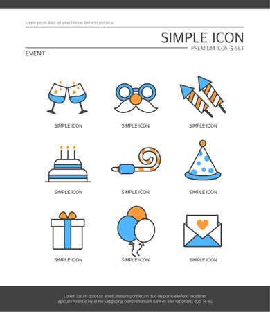 glasse: Event Simple Icon Set Illustration