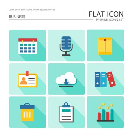 Business Flat Icon Set 일러스트