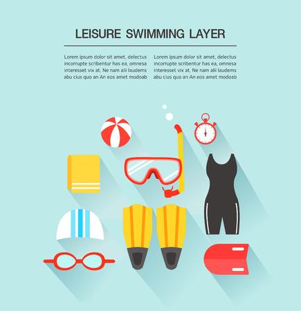 swim cap: leisure swimming Layer Illustration