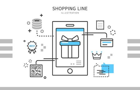 Line shopping illustration Vectores