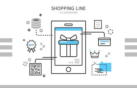 Line shopping illustration Illustration