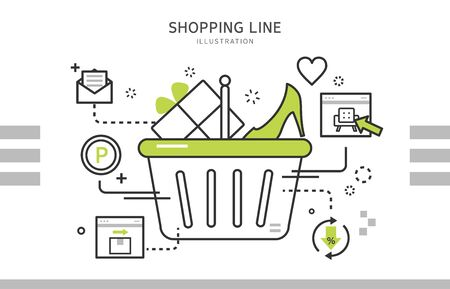 on line shopping: Line shopping illustration Illustration