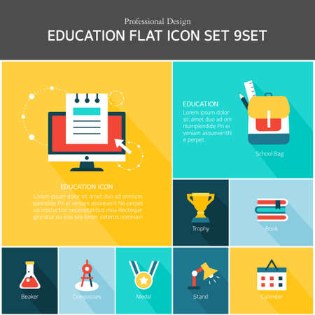 assignments: Education Flat Icon Set