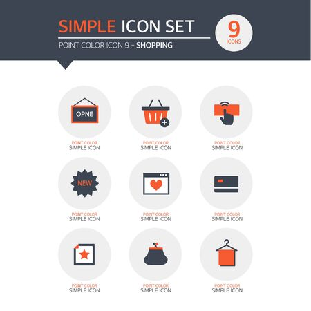coin purses: Shopping Simple Icon Set