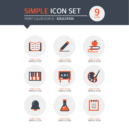 range fruit: Education Simple Icon Set Illustration
