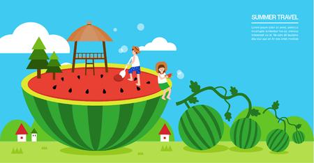 watermelon woman: Summer travel illustration Illustration