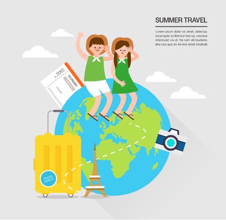 Summer travel illustration Illusztráció