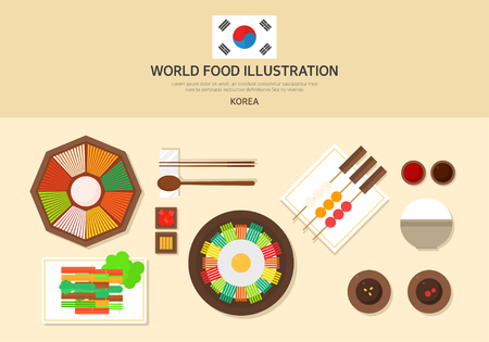 korea food: korea food illustration set Illustration