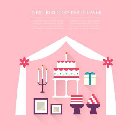 birthday party: First Birthday party layer set Illustration