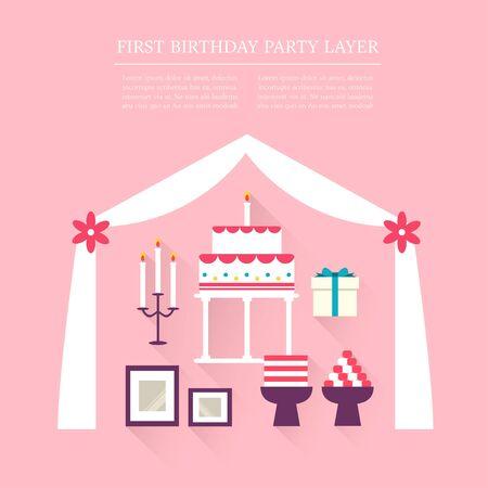 first birthday: First Birthday party layer set Illustration