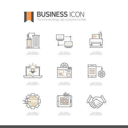 Icône de la ligne d'affaires ensemble