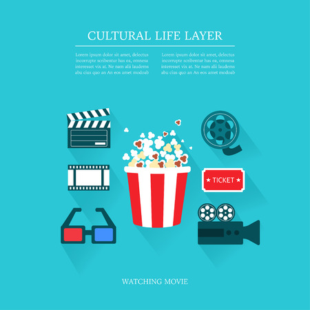cultural: cultural life watching movie layer set