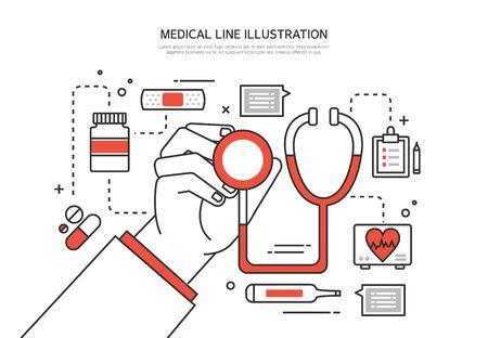 hospital icon: Medical line illustration