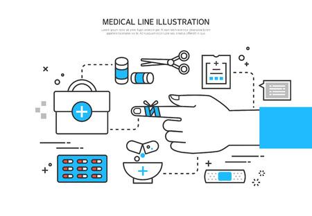 emergency room: Medical line illustration