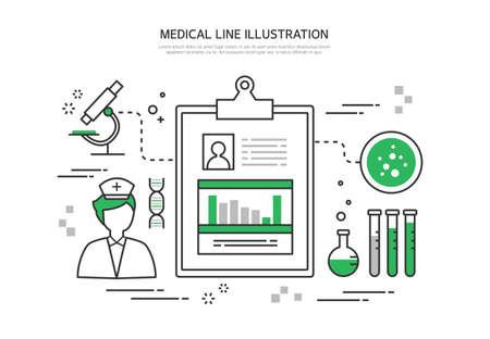 patient's history: Medical line illustration