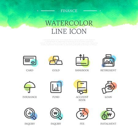 installment: Banking line Icon set