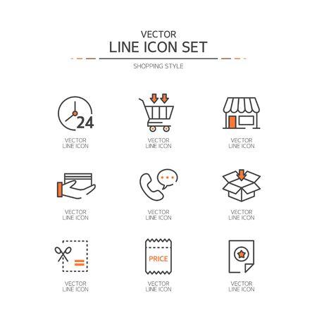 Shopping line Icon set