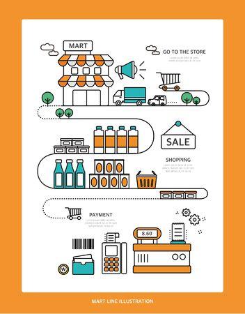 tinned goods: Mart Line Illustration