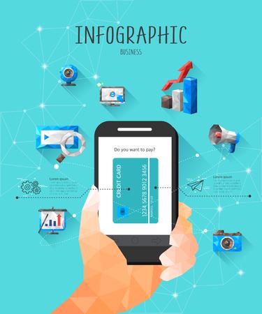 graphic illustration: Business Polygon Info Graphic Illustration