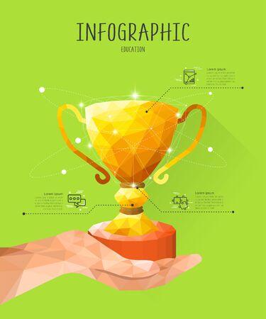 graphic illustration: education Polygon Info Graphic Illustration Illustration