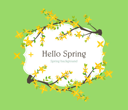 forsythia: Spring frame illustration