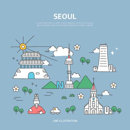 Seoul line layer set Vectores