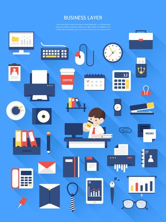 Colección de ilustraciones planas de negocios