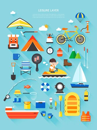 Leisure Flat Illustrations Collection