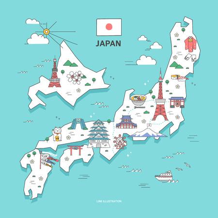 Japan Travel Landmark Collection Illustration