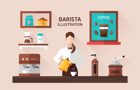 Barista Flat illustration Illustration