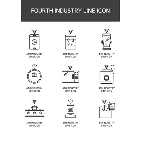 Industrial Revolution Line Icon Set