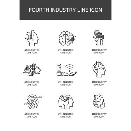 産業革命線アイコン セット