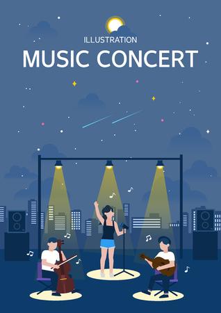 Muziekconcert illustratie