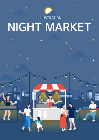 Night market illustration