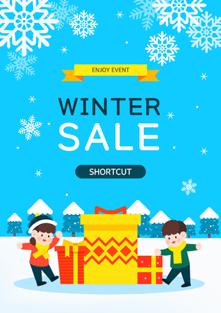 Happy Winter and Christmas illustrations Illustration