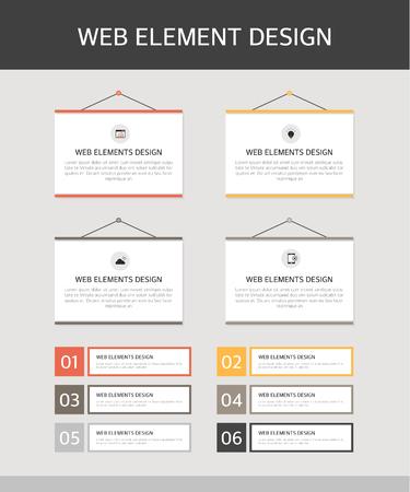 Web Elements Design Set in simple illustration.