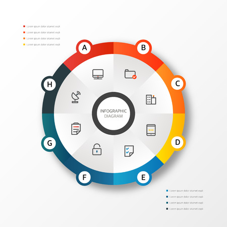 Infographic diagram design template in circular style, can be used for electronic web apps, workflow lay out and banner background
