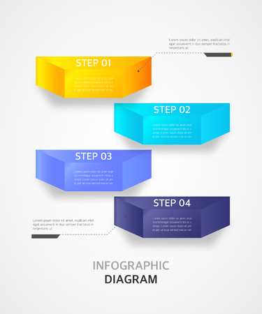 Infographic diagram design template, can be used for step up options, workflow lay out and office banner background Illustration