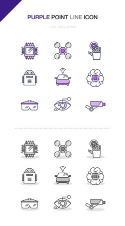 4th Industrial Revolution Line Icon Set