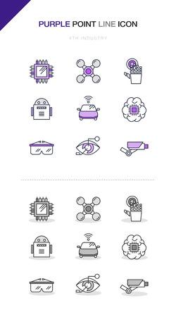 4th Industrial Revolution Line Icon Set