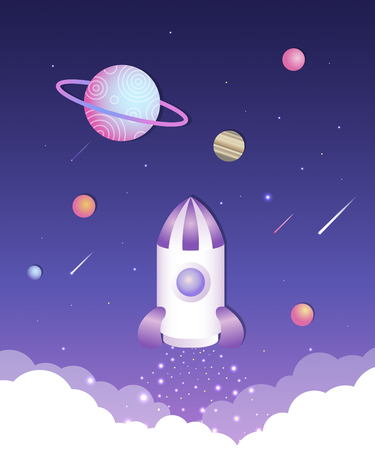 Space world with planet and rocket ship illustration Vectores