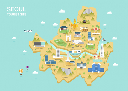 Illustration of  flat postcard with famous Korea landmarks icons on the map Vectores