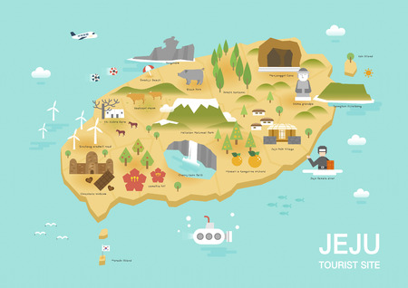 Illustration of flat postcard with famous Korea landmarks icons on the map