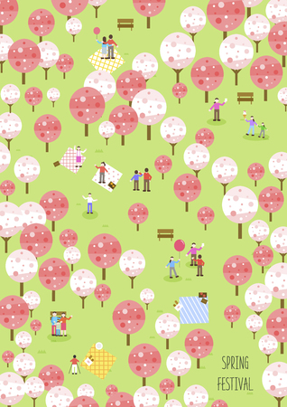 Spring Flower Festival poster with colored trees and people on green background. flat style Vector illustration. 일러스트