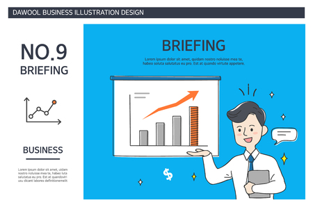 Briefing with graph presentation business illustration design. Çizim