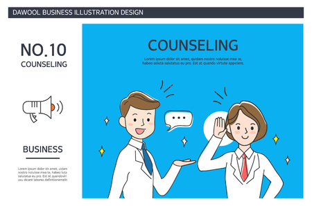 Counseling with two employees design business illustration Ilustrace