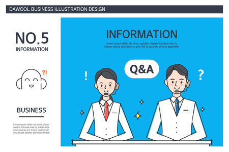 Business illustration concept with two employees giving informations and answers to inquiries.