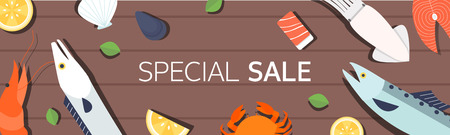 Horizontal shopping banners with seafood Vector illustration. Reklamní fotografie - 97784846